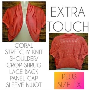 Extra Touch Shrug Size 1X Coral Lace NWOT